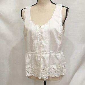 J. Crew white eyelet peplum sleeveless blouse 8